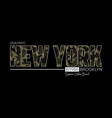 new york t-shirt design with knitted camouflage vector image vector image