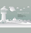 paper art style lighthouse and sea with sailboat vector image vector image