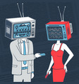 people with head tv communicate concept vector image vector image