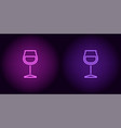 purple and violet neon wineglass vector image