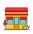 restaurant building flat line vector image vector image