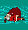 santa claus superhero is flying with a bag of vector image vector image