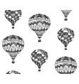 seamless pattern of zentangle hot air balloon vector image vector image