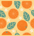 seamless pattern orange leaves fruits vector image vector image