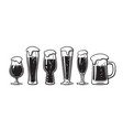 set different types beer glasses hand drawn vector image
