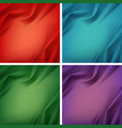 set of colored silky textile with wavy folds vector image