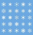 set of different winter snowflakes blue white vector image vector image