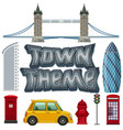 set of town theme objects vector image vector image