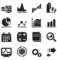 Silhouette diagram and graph icons vector image