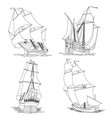 simple set of ship with sails vector image vector image