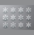 snowflake winter set white isolated icon vector image vector image