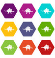 stegosaurus dinosaur icon set color hexahedron vector image vector image