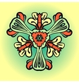 Stylized flower in orange and green color vector image vector image