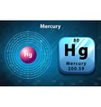 Symbol and electron diagram for Mercury vector image vector image