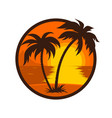 tropical sunset with palm tree round icon vector image vector image