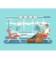 waiting at airport departure vector image vector image