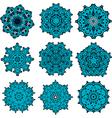 set of mandalas snowflakes vector image