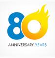 80 anniversary flame logo vector image vector image