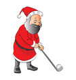 a man playing golf in santas costume vector image