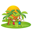 An island with a happy couple vector image vector image