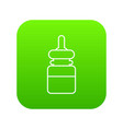 baby bottle icon green vector image vector image