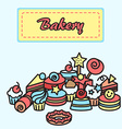 bakery cake icons sticker Candy sweet banner vector image