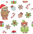 bear christmas new year seamless pattern il vector image