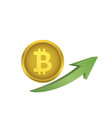 bitcoin symbol with green arrow vector image vector image