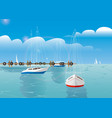 blue sea sky background and yachts vector image vector image