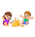 boy and girl making a big sandcastle at beach vector image