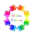 Bright colour children hands together in shape of vector image