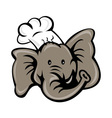 cartoon chef cook baker elephant vector image vector image