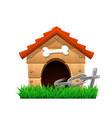 cartoon dog house vector image vector image