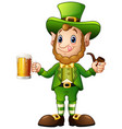 cartoon leprechaun holding a glass of beer and pip vector image