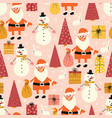 christmas coronavirus seamless pattern vector image