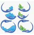 clean women hands fresh water and green leaves vector image vector image