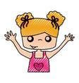 cute girl drawing character vector image vector image