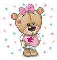 cute teddy bear with a bow on a white background vector image vector image