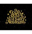 Feliz Navidad gold glittering lettering design vector image vector image