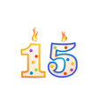 fifteen years anniversary 15 number shaped vector image vector image