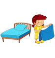 girl making bed on white background vector image vector image