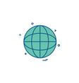 globe map icon design vector image vector image