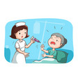 grandma do not want to get vaccinated vector image vector image