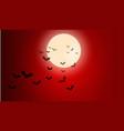 halloween dark red night sky bats fly to the vector image