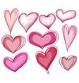 Hand drawn heart shape set vector image vector image