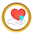 Hand holding red heart icon vector image vector image