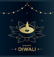 happy diwali luxury greeting card india festival vector image