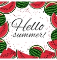 Hello summer with watermelons background vector image vector image