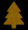 hexagon halftone fir-tree icon vector image vector image