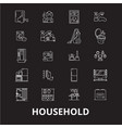 household editable line icons set on black vector image vector image